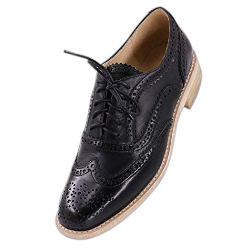 Jaro Vega Women's Comfort Leather Sole Perforated Lace Up Wingtip Vintage Oxford Flats Shoes Black Size 9