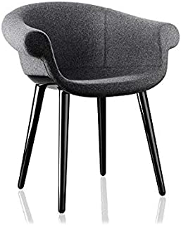 Magis Cyborg Lord Polished Black Armchair with Melange Grey Fabric