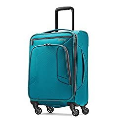 small American Tourist 4 Kix Rotating Soft Suitcase, Turquoise Blue, 21 Inch Baggage