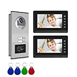 2 Units Apartment Video Intercom Entry System, Wired 7 inches LCD Monitor Video Door Phone, Support Monitoring, Dual Way Door Intercom