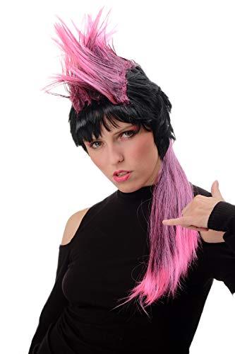 WIG ME UP ® - PT0028 Peluca Mujer Hombre Halloween Carnaval Largo Estilo 80s Punky Punk Wave Mohican Negro y Rosa