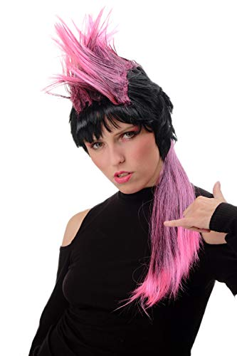 WIG ME UP ® - PT0028 Peluca Mujer Hombre Halloween Carnaval Largo Estilo 80s Punky Punk Wave Mohican Negro y Rosa