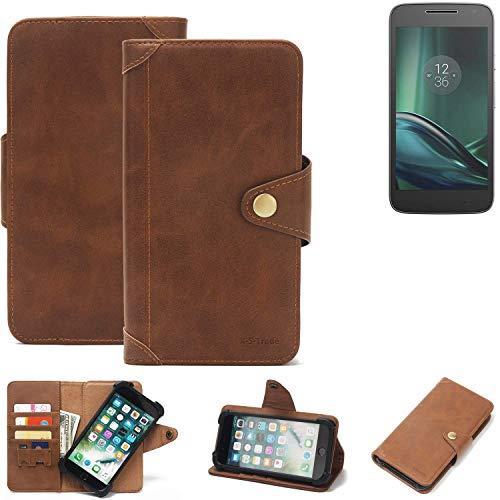 K-S-Trade® Handy-Hülle Für Lenovo Moto G (4. Gen.) Play Schutz-Hülle Walletcase Bookstyle Tasche Handyhülle Schutz Hülle Handytasche Wallet Flipcase Cover PU Braun (1x)