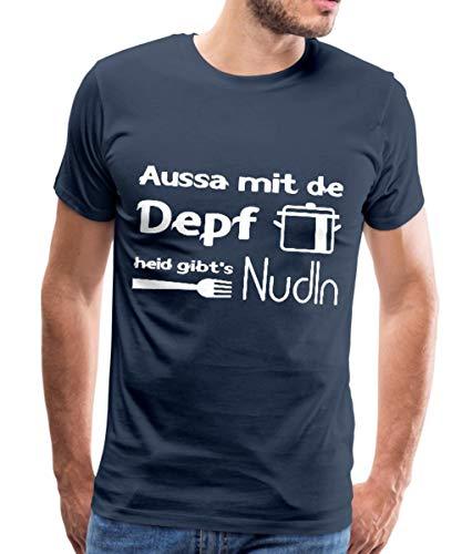 Kochen Dialekt Aussa Mit De Depf Heid Gibt's Nudln Männer Premium T-Shirt, L, Navy