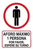 akrocard - Cartel Resistente PVC - AFORO MÁXIMO 1 PERSONA - Señaletica COVID 19 medidas basicas de seguridad- señal Ideal para comercios, tiendas, locales