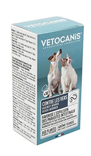 Vétocanis - Comprimés contre les Vers pour Chien et Chat - Extraits de Plantes - Arôme Viande - Fabriqué en France - Lot de 2 x 30 pièces