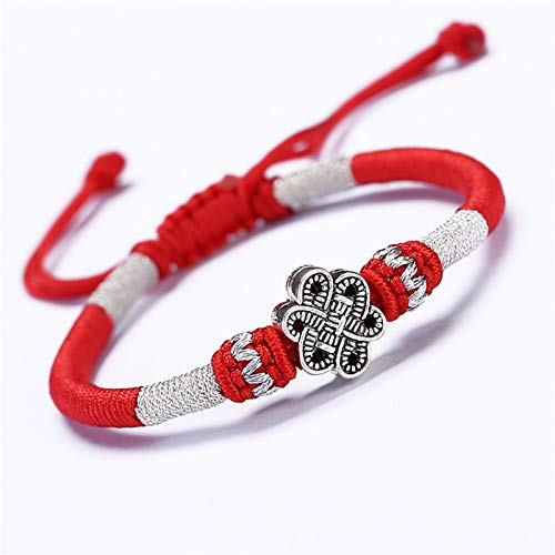 Guuisad Pulseras trenzadas, Pulseras de cráneo, Pulseras de nudo chino, Pulseras de Lucky para hombres y mujeres Tibetan Lucky Amulet Knot Pulsera Braiding Cord, Proporcionar la paz y la protección de