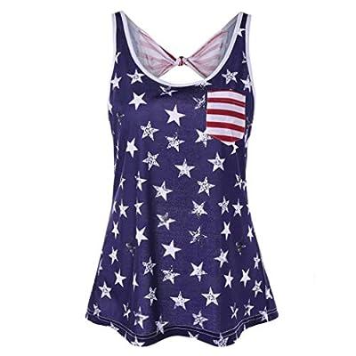 RAINED-Womens American Flag Tank Top 4th July Tanks USA Flag Stripe Printed Patriotic USA Flag Tops Shirts Blouse