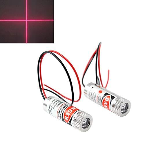 WayinTop 2pcs 650nm Módulo de Cruzado Roja Láser Enfoque Ajustable con Lente de Plástico 3-5V (Cruzado Láser)