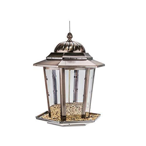 LUNAH Vogelhäuschen mit Wandhalterung, Vogelfutterautomat mit hängendem Metalldach, Gartenhängesamenfutterautomat, sechseckiger Tellervogeltisch