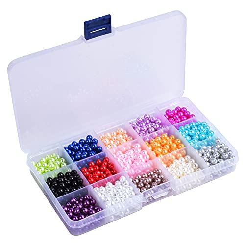 Pinsheng 1500 Piezas 15 Colores Cuentas Redondas de Cristal, Semiesfera Nacarado Perla...
