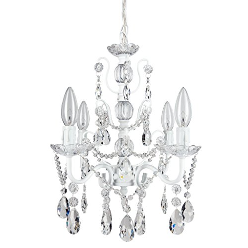 Madeleine White Crystal Chandelier, Mini Swag Plug-In Glass Pendant 4 Light Wrought Iron Ceiling Lighting Fixture Lamp
