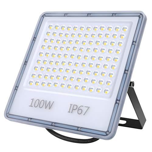 Foco LED de 100 W para exteriores, 10.000 lúmenes, muy brillante, IP67, resistente al agua, luz blanca fría de 6500 K, para patio trasero, entrada, puertas, garaje, pasillo, jardín