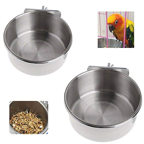 Jixista Comederos para Pájaros de Acero Inoxidable Alimento para Pájaros y Taza de Agua con Alimentador comedero para pájaros Cuenco Perico Comedero para pájaros Accesorio de Jaula 2PCS