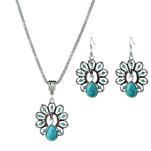Bigboba Halskette und Ohrringe, Retro-Nationalwind-Halskette, hohl, Diamant, Pfau, Halskette, Pullover-Kette, Weihnachtsgeschenk für Frauen und Mädchen