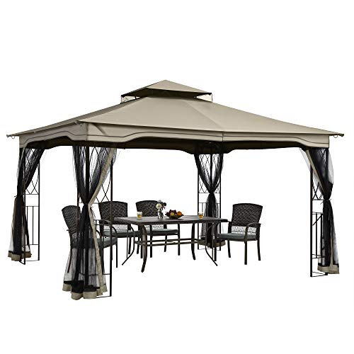 PAMAPIC 13x11 Gazebo Canopy Tent, for Sun and rain with Skylight and Mosquito net, Waterproof Soft Metal roof Pavilion, for Lawn, Garden, Backyard and Deck (Topaz)