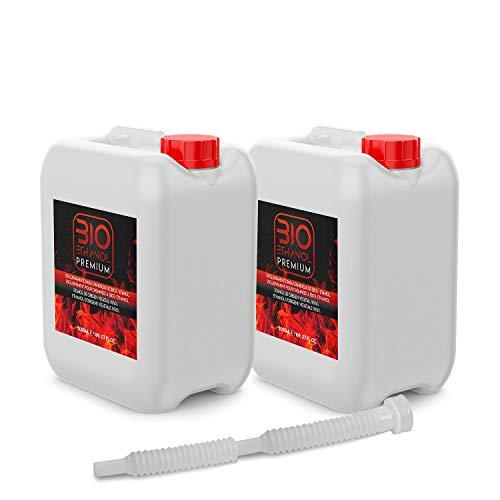 2 uds 5 Litros Bioetanol con Embudo   Etanol Vegetal para Chimeneas 10l