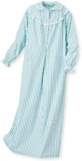 Image of Old Fashion Style Striped Womens Plus Size Flannel Nightgown - See More Colors