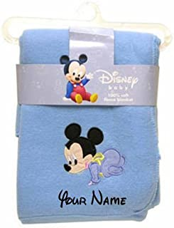 Personalized Disney Baby Mickey Mouse Blue Fleece Blanket Blanky - 36 Inches x 30 Inches