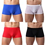 Men's Silky Boxer Briefs Short Leg Underwear Pack Health to Wear, 4pack-a02, Medium