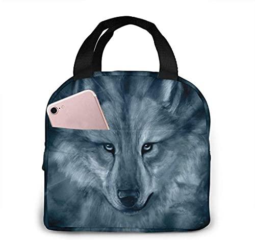 Bolsa de almuerzo portátil con aislamiento térmico de Native Wolf con cierre de cremallera, caja refrigeradora reutilizable para adultos