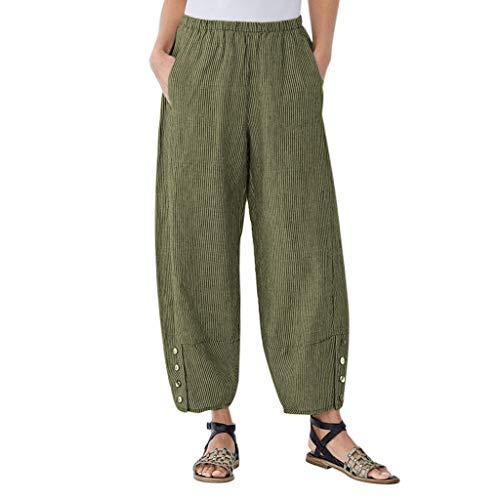 Damen Übergröße Cordhose Lässige lockere Hose mit Knopf und hoher Taille und großen Taschen