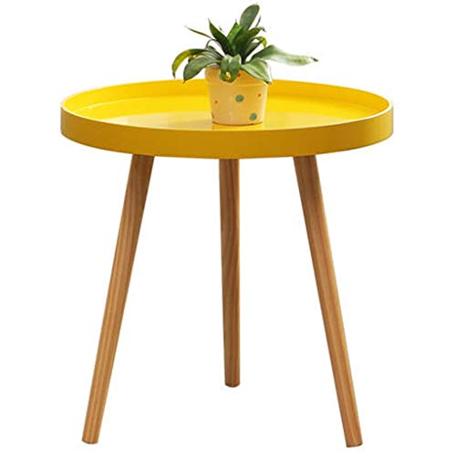 Tables basses Petite Table Ronde Mini Côté d'angle Ronde Nordique Jaune Petite Jaune Cadeau (Color : Yellow, Size : 38 * 42cm)