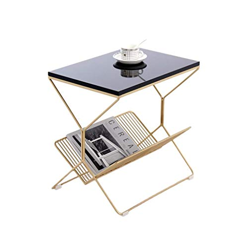 Life Equipment Office Furniture Side Table Balcony Living Room Reading Table Mirrored Bedside Tables Firm Durable Sofa Tables Size: 50 * 36 * 50CM Pedestal Tables (Color : Black Size : 50 * 36 * 50