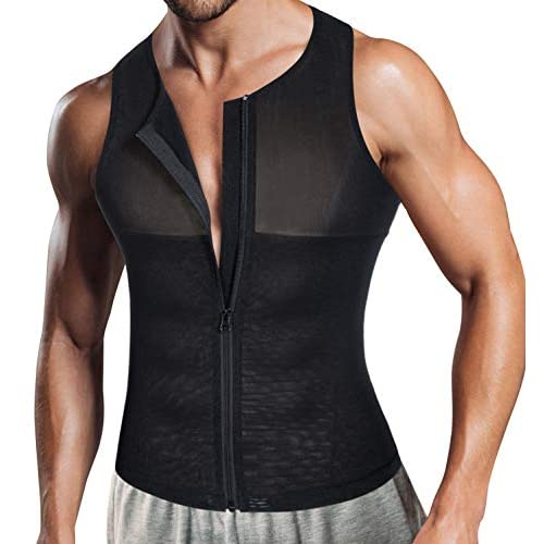 Bafully Compression Vest Tops for Men, Slimming Body Shaper Undershirt with Zipper to Hide Gynecomastia Moobs