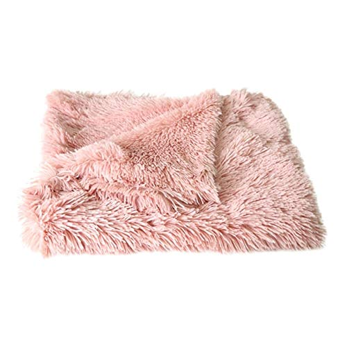 WanXingY Pet Plush Bed Fluffy Cushion Soft Big Dog Thin Cover Solid Cat Mattress Dog Cat Blanket (Color : Pink, Size : S)