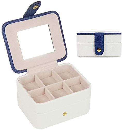 WHZG Caja joyero Caja de Regalos de gabinete de Joya de Cuero para Mujeres Caja de joyería Collar Anillo Organizador de Almacenamiento Doble Capa sintético Organizador Joyas (Color : White)