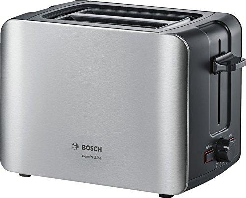 Bosch TAT6A913 Grille-Pain compact Comfort Line, centrage du pain automatique, fonction décongélation, 1090 W, acier inoxydable/noir