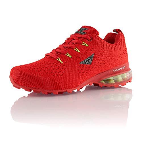 Fusskleidung® Damen Herren Laufschuhe atmungsaktive Runners leichte Trekkingschuhe Rot EU 43