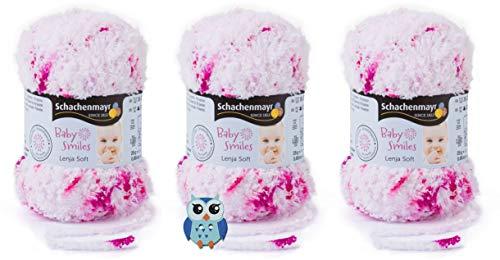 3x25 Gramm Schachenmayr Baby Smiles Lenja Soft Color Nr. 81 Pink Spot Color aus 100% Polyester Speichelecht, Schadstoffgeprüft, Hautfreundlich + 1 Eulen Knopf Holz zum aufnähen