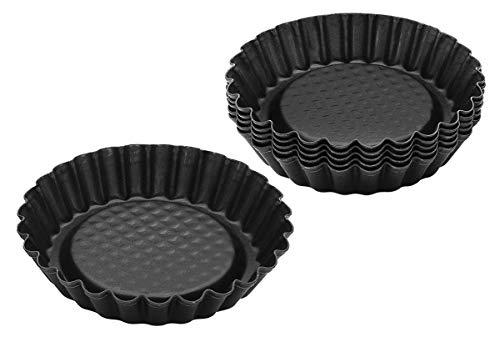 Zenker 6531 Lot de 6 moules à tartelettes, mini moule à tarte, 6 moules pour tartelettes renversées, mini moules, Acier inoxydable, Noir, 10 cm