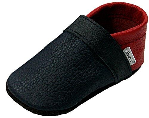 Mopu's® Krabbelschuhe - Lederpuschen in blau/rot - handgemachte Markenqualität aus Deutschland