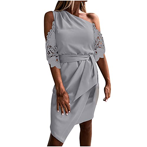 Frauen Kleid Lässig Einfarbig Business Kleid Ärmellos One Shoulder Sashes Unregelmäßiges Etuikleid Elegantes Partykleid(S,Grau3)