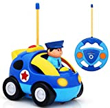 Haktoys My First RC Cartoon Police Car with Music Button and LED Headlights | Safe and Durable | Learning to Drive, Great Gift Justice Team Action Radio Control Toy for Toddlers, Kids, Boys and Girls