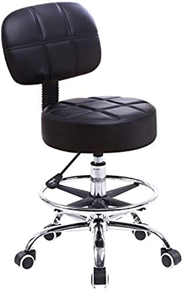 KKTONER Swivel Round Rolling Stool PU Leather With Adjustable Foot Rest Height Adjustable Task Work Drafting Chair With Back Black