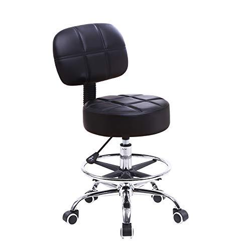 KKTONER Drehstuhl Rollhocker Arbeitsstuhl mit Rückenlehne Höhenverstellbarer SPA Medical Salon Hocker Stuhl mit Rädern PU Leder schwarz