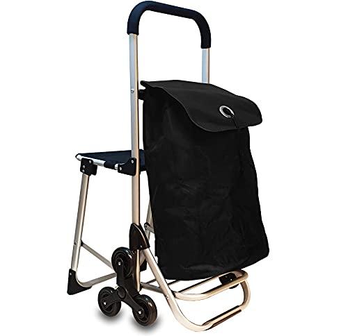 6in1 Einkaufstrolley Treppensteiger Einkaufsroller klappbare Einkaufswagen Faltbarer Einkaufsroller Kühltasche Stuhl Trolley Einkaufshilfe Einkaufskörbe & -Taschen (Schwarz)