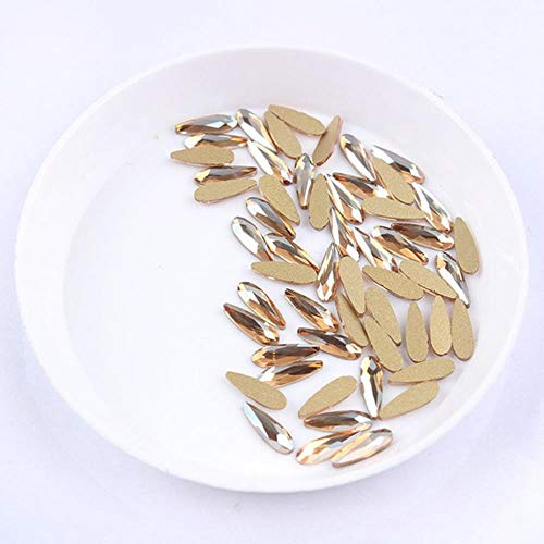 30 / 100pcs / pack Nail Art Strass Long Teardrop Shaped Glass Stons For 3D Nails Decoration, Champagne, Drop 2.5x8mm 30pcs