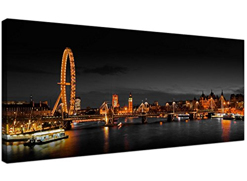 Panoramic Canvas Art of the London Eye at Night for your Living Room - 1186 - Wallfillers® by Wallfillers