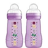 MAM Easy Active Babyflasche mit MAM Teats mit mittlerem Durchfluss, Doppelpackung Babyflaschen, Babynahrung, 270 ml, Lila (Designs können variieren)