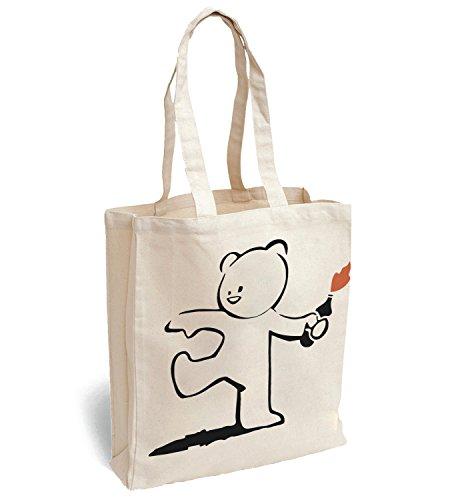 MyMerchandise Banksy Teddy Bear Canva Bag Tote Handbag Shoulder Bag Sports Leisure Picnic