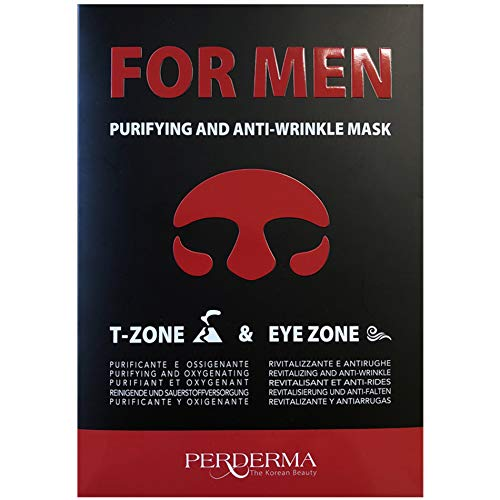 PERDERMA TWO MASK FOR MAN - PURIFYING AND OXYGENATING T-ZONE MASK AND REVITALIZING AND ANTI-WRINKLE EYE ZONE MASK BY HYDRO-GEL