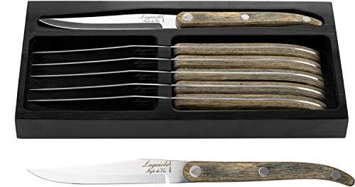 Laguiole Style de Vie Innvation Line - Cuchillo para carne (6 piezas, madera de pak)