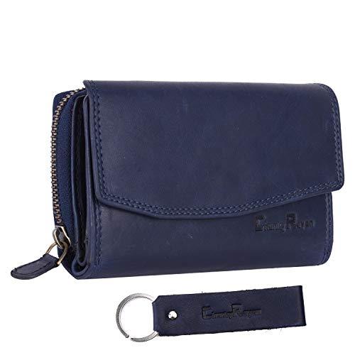 Chunkyrayan Bolsa de Cuero Real para Mujeres Protección RFID Vintage Incluye Llavero de Cuero Azul GB-6 Blue Madrid 1