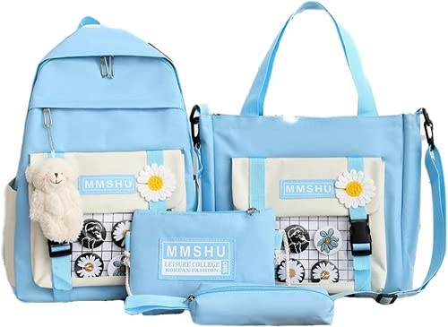 4pcs Backpack School Book Bag Set with Teddy Bear Kawaii Cute Pendant, Canvas Combo Girl Tote Crossbody Animal Little Daisy Daypack Teen Kid Student Handle Shoulder Pencil Case Pouch Lunch Box (Blue)