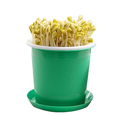 QQSS Intelligente Keimmaschine Bean Sprouts Tablett Green Health Bean Sprouting Gerät, Innenschaufel, Außenschaufel und Druckplatte, Grün